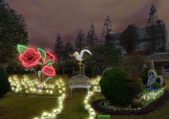 여수시청 정원에 동백꽃 포토존